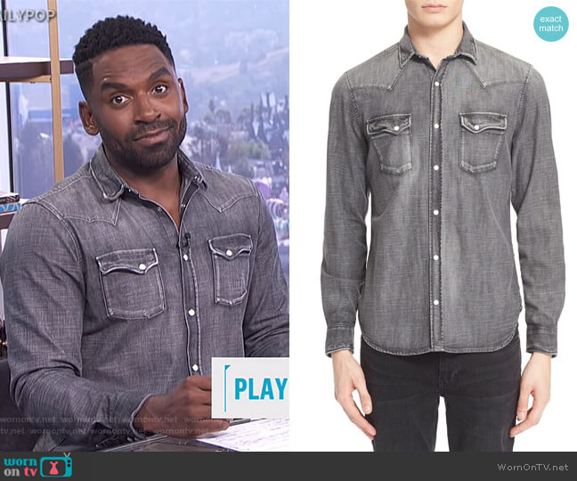 Trim Fit Denim Western Shirt by The Kooples worn by Justin Sylvester on E! News