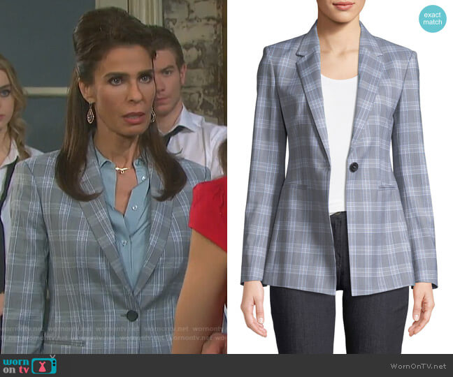 Maple Check 2 Power Jacket by Theory worn by Kristian Alfonso on Days of our Lives