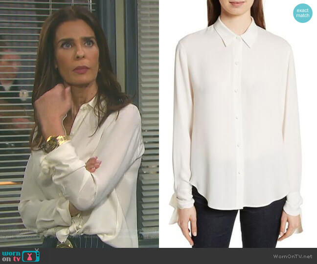 Tie Cuff Silk Georgette Shirt by Theory worn by Hope Williams (Kristian Alfonso) on Days of our Lives