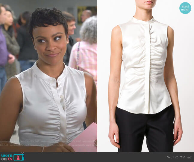 Gathered Sleeveless Blouse by Theory worn by Carly Hughes on Insatiable
