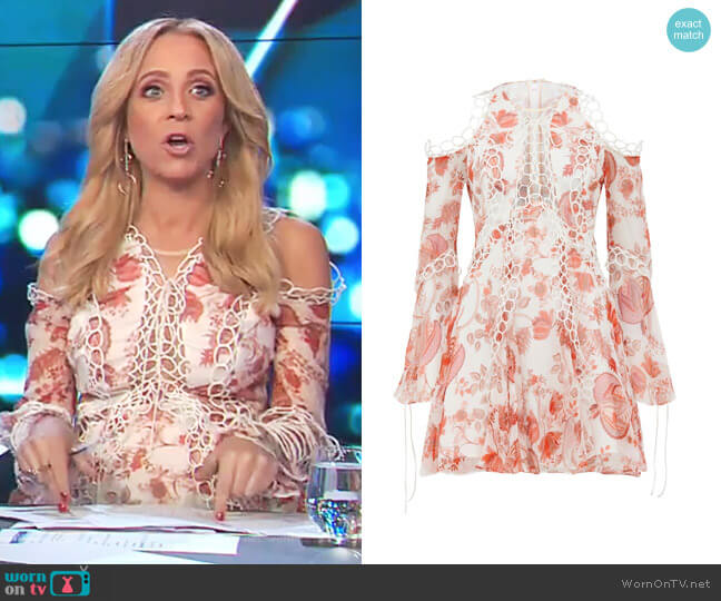 Chintz Print Dress by Thurley worn by Carrie Bickmore on The Project