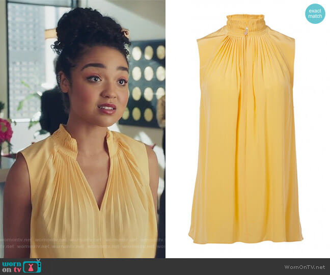 Arielle Silk Sleeveless Top by Tibi worn by Kat Edison (Aisha Dee) on The Bold Type