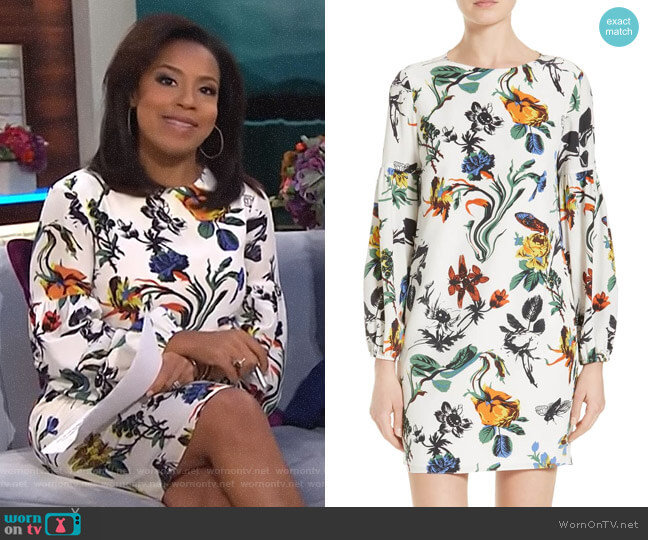 Gothic Floral Silk Shift Dress by Tibi worn by Sheinelle Jones on Today