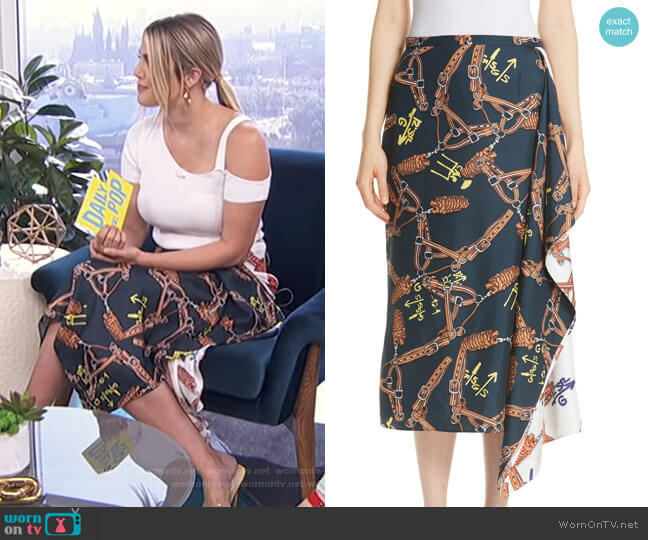 Renzo Scarf Print Asymmetrical Silk Skirt by Tibi worn by Carissa Loethen Culiner on E! News