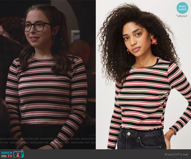 Multi Striped Lettuce Long Sleeve Top by Topshop worn by Esther Povitsky on Alone Together