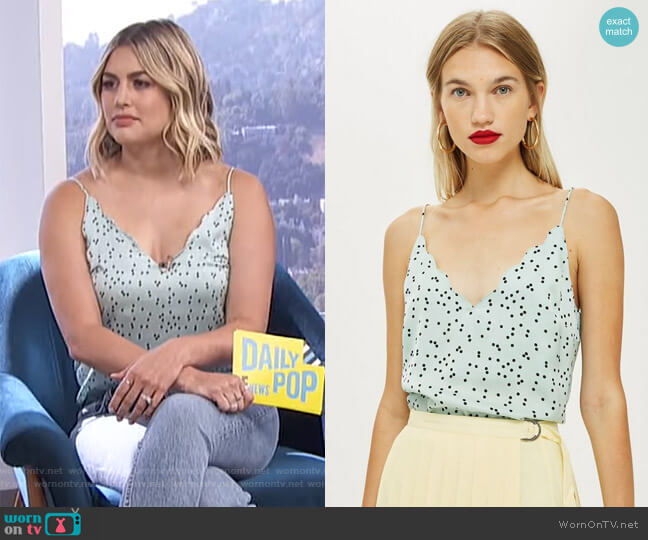 Spot Print Cami Top by Topshop worn by Carissa Loethen Culiner (Carissa Loethen Culiner) on E! News