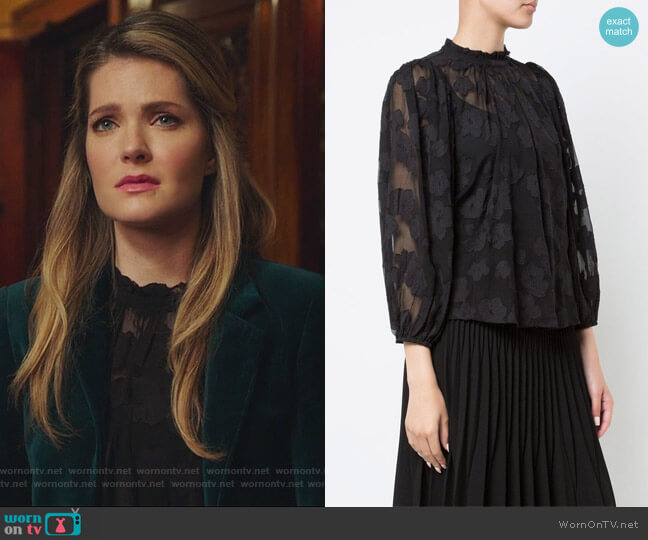 Sandrine floral blouse by Ulla Johnson worn by Meghann Fahy on The Bold Type