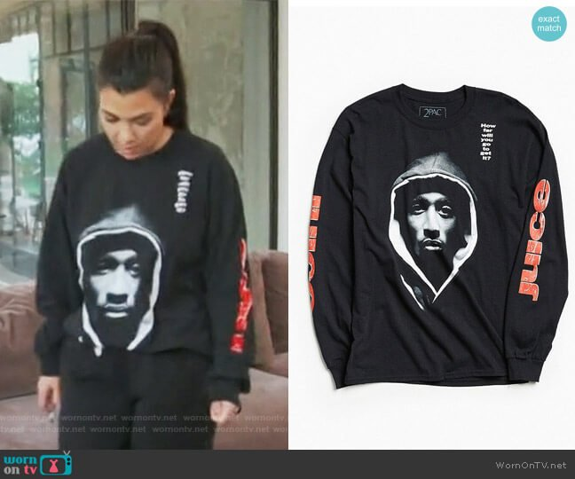 Juice X 2Pac How Far Will You Go Long Sleeve Tee by Urban Outfitters worn by Kourtney Kardashian (Kourtney Kardashian) on Keeping Up with the Kardashians