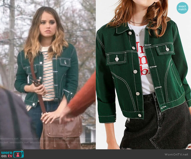 UNIF Woody Green Denim Jacket by Urban Outfitters worn by Patty Bladell (Debby Ryan) on Insatiable