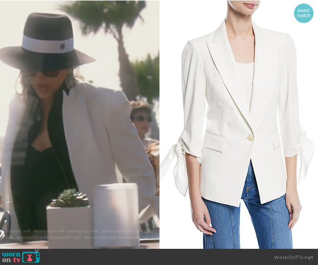 Corrine Single-Breasted Tie-Cuff Dickey Jacket by Veronica Beard  worn by Kelly Dodd  on The Real Housewives of Orange County