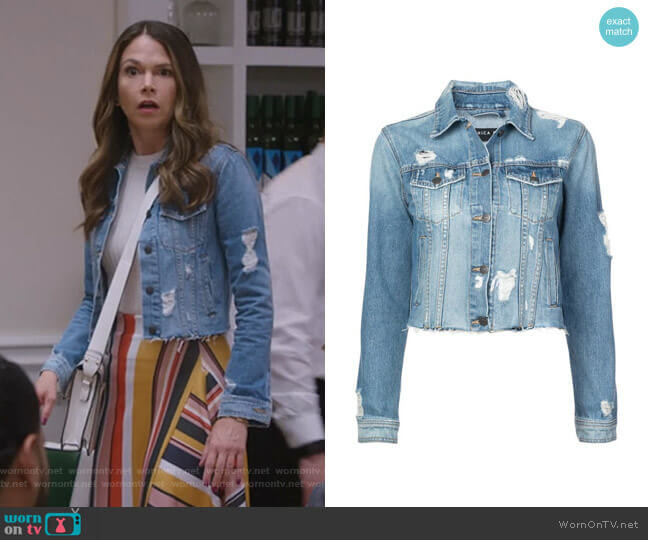 ropped Denim Jacket by Veronica Beard worn by Sutton Foster on Younger
