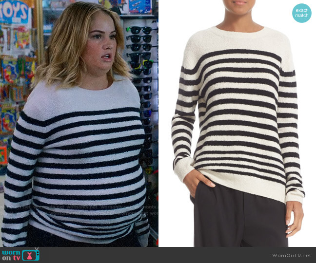 Vince Engineered Stripe Wool Blend Pullover worn by Debby Ryan on Insatiable