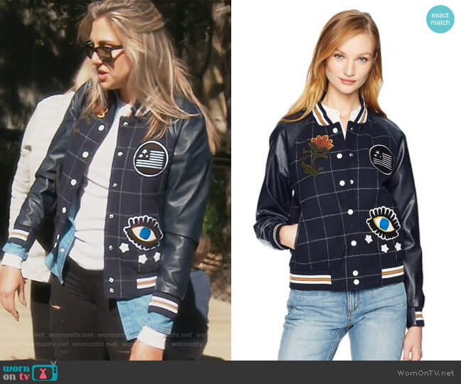 Bettie Varsity Jacket by William Rast worn by Gina Kirschenheiter (Gina Kirschenheiter) on The Real Housewives of Orange County