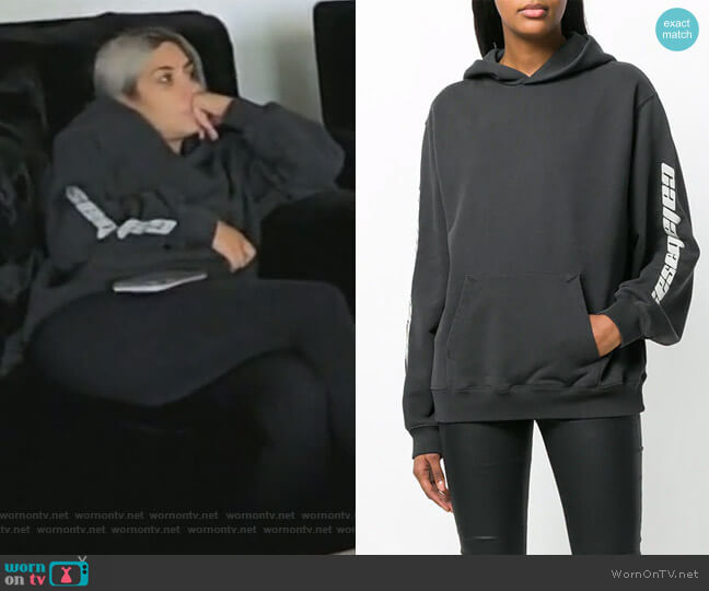 Calabasas hoodie by Yeezy worn by Kim Kardashian on Keeping Up with the Kardashians