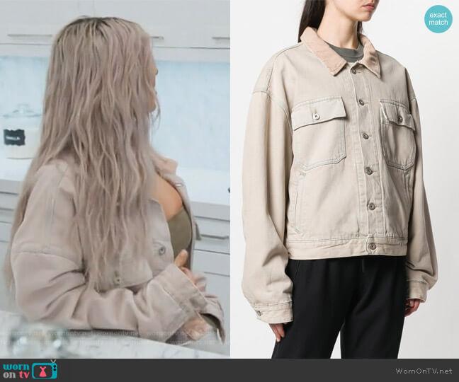 Season 6 denim jacket by Yeezy worn by Kim Kardashian on Keeping Up with the Kardashians