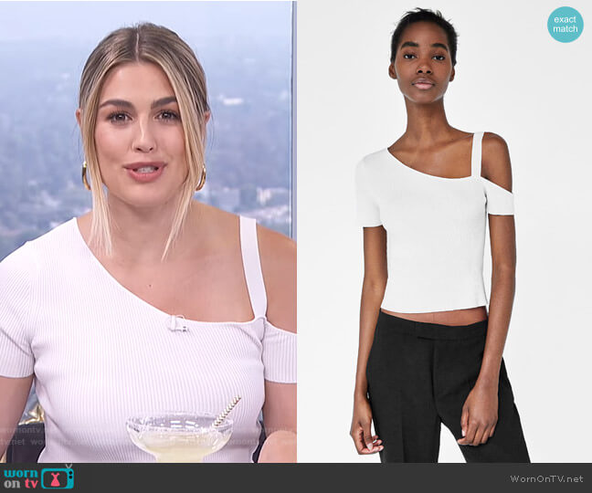 Asymmetrical Ribbed Top by Zara worn by Carissa Loethen Culiner on E! News