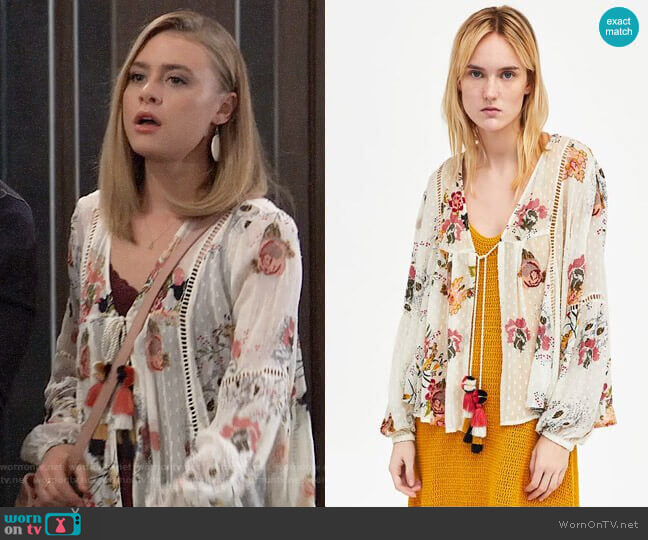 Zara Embroidered Dotted Mesh Blouse worn by Hayley Erin on General Hospital