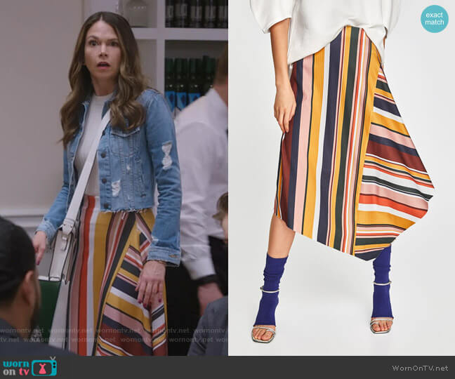 Falda Rayas Multicolor Skirt by Zara worn by Sutton Foster on Younger