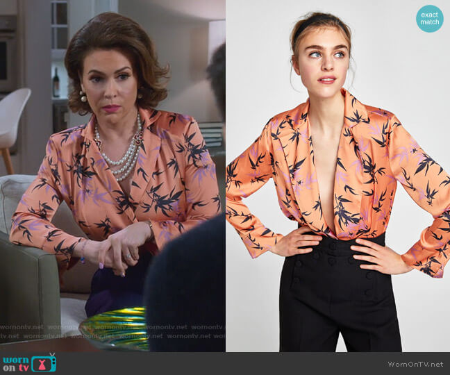 Leaf Print Bodysuit by Zara worn by Alyssa Milano on Insatiable
