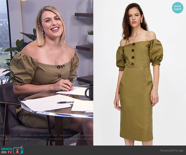 b5a1a4ab6454 Off the Shoulder Dress by Zara worn by Carissa Loethen Culiner (Carissa  Loethen Culiner)