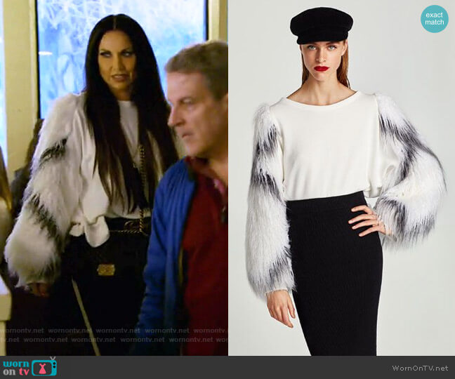 Sweatshirt with Contrasting Sleeves by Zara worn by LeeAnne Locken on The Real Housewives of Dallas