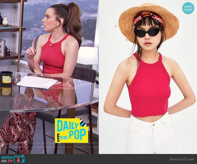 Pink Halterneck Top by Zara worn by Melanie Bromley (Melanie Bromley) on E! News