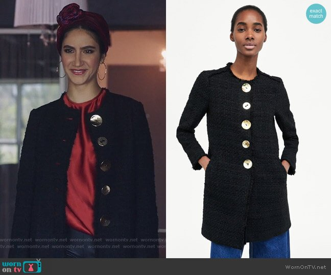 Tweed Coat with Buttons by Zara worn by Nikohl Boosheri on The Bold Type