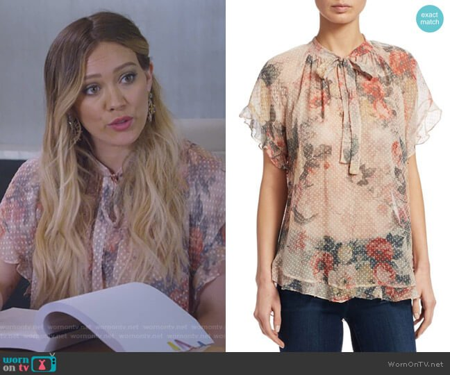 Radiate Cascade Floral Top by Zimmermann worn by Kelsey Peters (Hilary Duff) on Younger