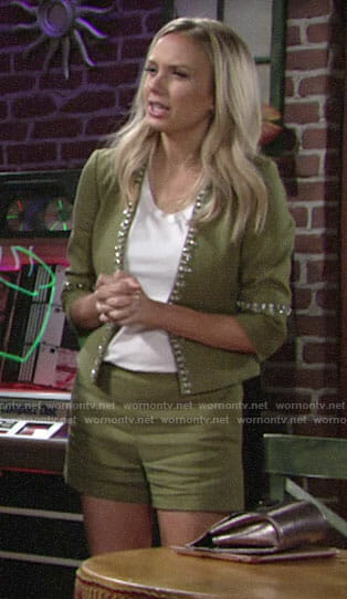 Abby's green embellished linen jacket and shorts on The Young and the Restless