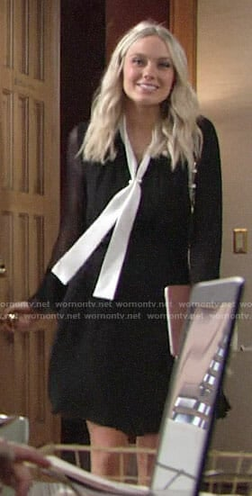 Abby's black tie neck dress on The Young and the Restless