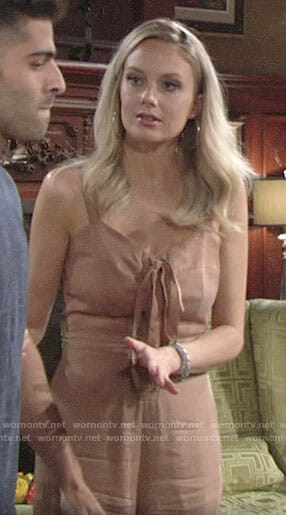 Abby's tan lace-up jumpsuit on The Young and the Restless