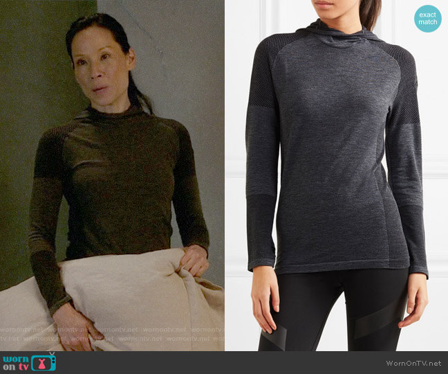 Adidas Performance Climaheat stretch-jersey hooded top worn by Joan Watson (Lucy Liu) on Elementary