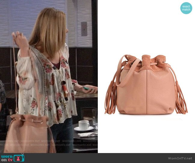 American Eagle Drawstring Leather Bucket Bag worn by Hayley Erin on General Hospital