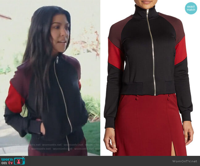 High Collar Track Jacket by ALC worn by Kourtney Kardashian on Keeping Up with the Kardashians