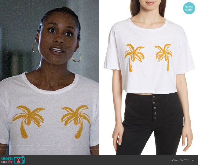 ALC Teagan Palm Embroidered Crop Tee worn by Issa Rae on Insecure