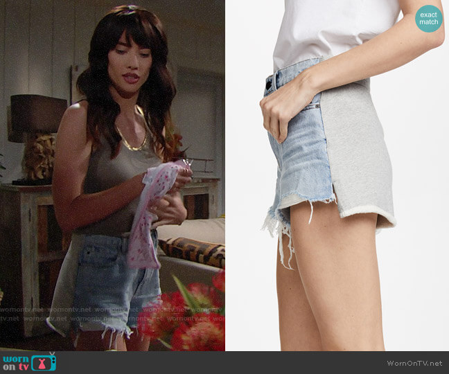 Denim x Alexander Wang Hybrid Bite Shorts worn by Steffy Forrester (Jacqueline MacInnes Wood) on The Bold & the Beautiful