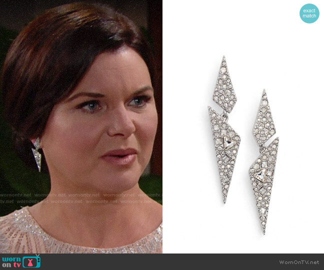 Alexis Bittar Crystal Encrusted Dangling Drop Earrings worn by Katie Logan (Heather Tom) on The Bold & the Beautiful