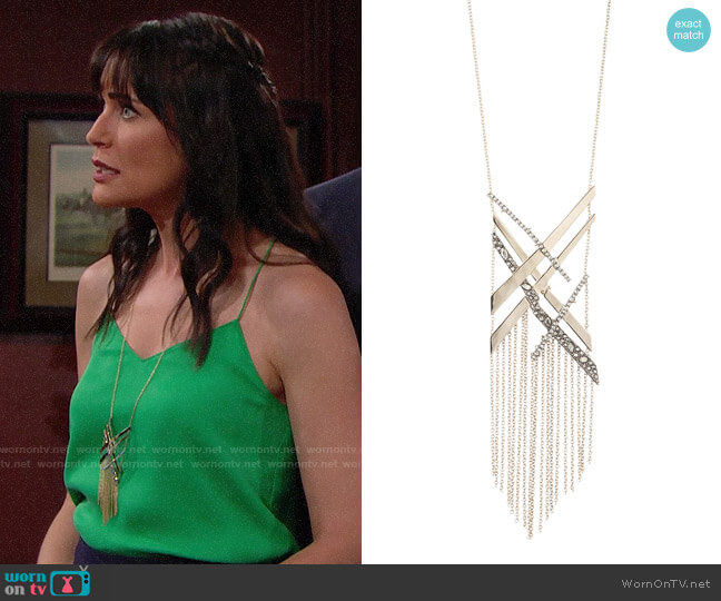 Alexis Bittar Crystal Encrusted Link Tassel Bib Necklace worn by Rena Sofer on The Bold & the Beautiful