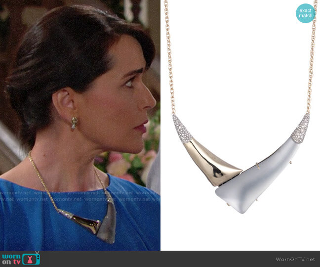 Alexis Bittar Liquid Gold with Crystal Accent V Shaped Necklace worn by Quinn Fuller (Rena Sofer) on The Bold & the Beautiful