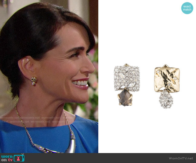 Alexis Bittar Mismatched Stud Earrings worn by Quinn Fuller (Rena Sofer) on The Bold & the Beautiful