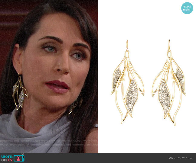 Alexis Bittar Crystal Encrusted Feather Wire Earrings worn by Quinn Fuller (Rena Sofer) on The Bold & the Beautiful