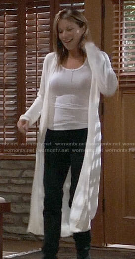 Alexis's long white cardigan on General Hospital