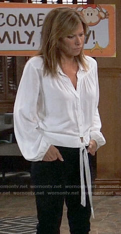 Alexis's white tie-front shirt on General Hospital