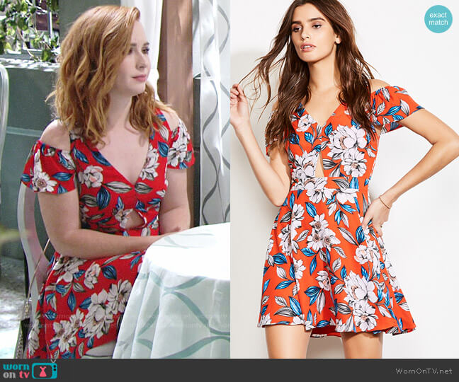 Ali & Jay Chasing Butterflies Dress in Poppy Bloom worn by Camryn Grimes on The Young & the Restless