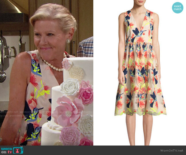 Alice + Olivia Becca Hummingbirds Dress worn by Alley Mills on The Bold & the Beautiful