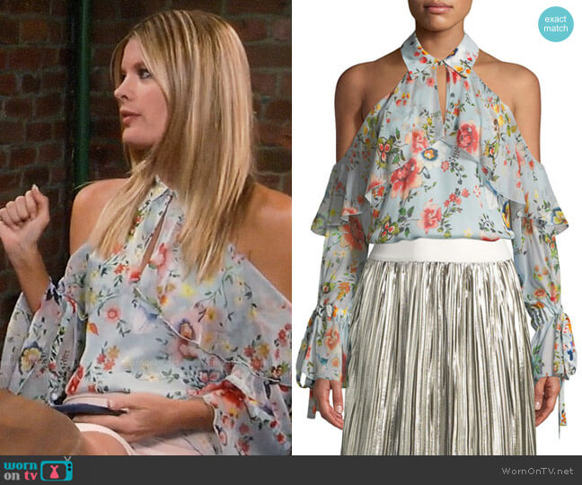 Alice + Olivia Blayne Blouse worn by Nina Reeves (Michelle Stafford) on General Hospital