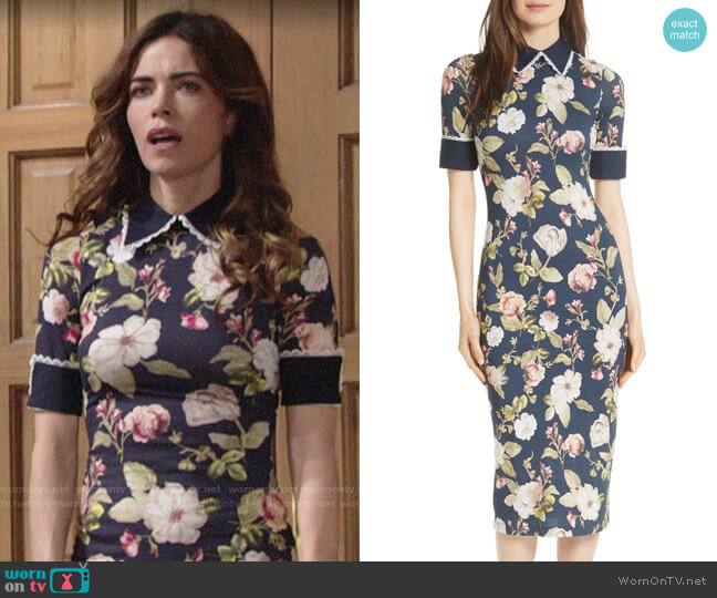 Alice + Olivia Delora Dress worn by Amelia Heinle on The Young & the Restless
