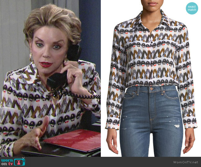 Alice + Olivia X Donald Robertson Willa Crazy Pants Blouse worn by Gloria Abbott Bardwell (Judith Chapman) on The Young & the Restless