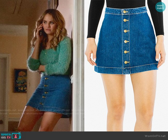 American Apparel Denim Button Front A-Line Mini Skirt worn by Patty Bladell (Debby Ryan) on Insatiable