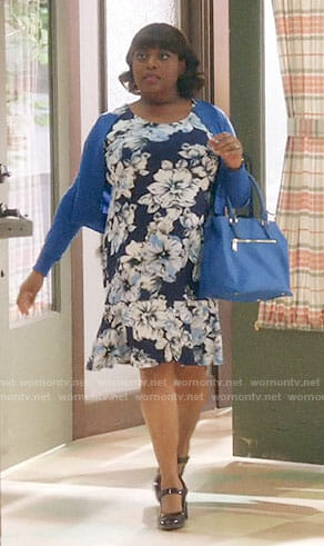 Anne's navy floral ruffle-hem dress on Trial and Error